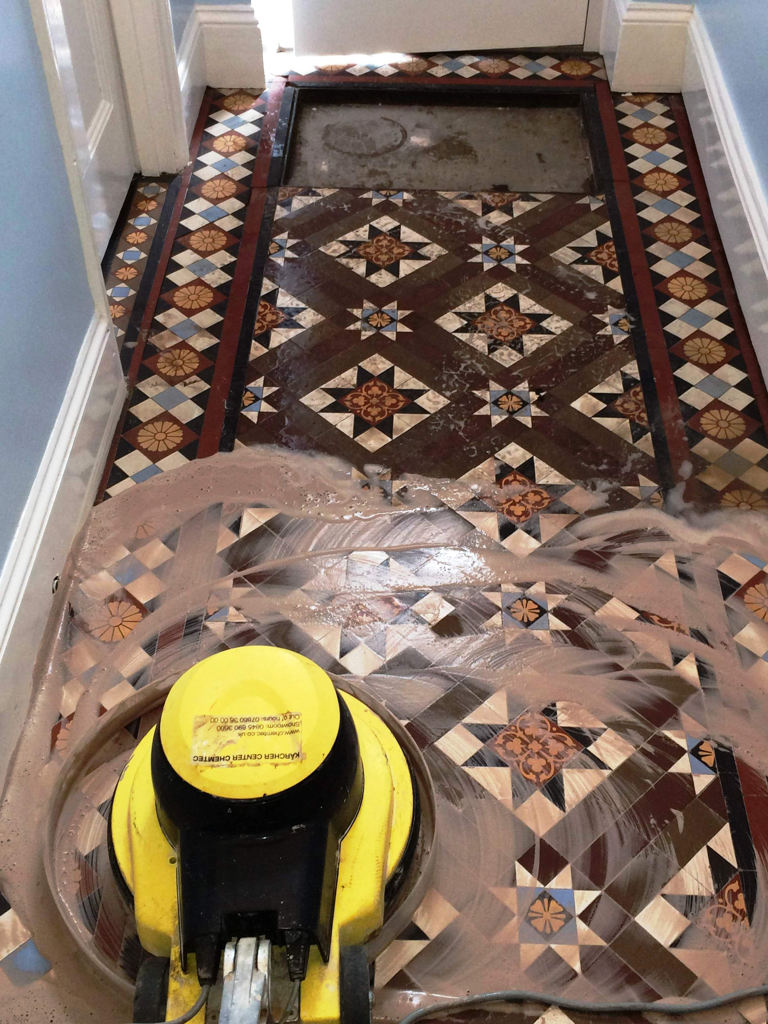 Victorian Tiled Floor Chippenham During Cleaning