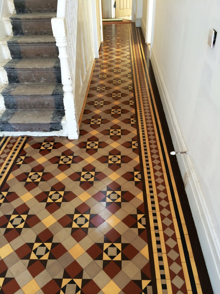 Victorian Tiled Hallway Floor Restored In Holt Wiltshire