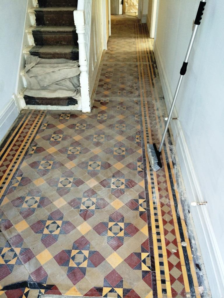 Victorian Tiled Floor Restoration in Holt Before