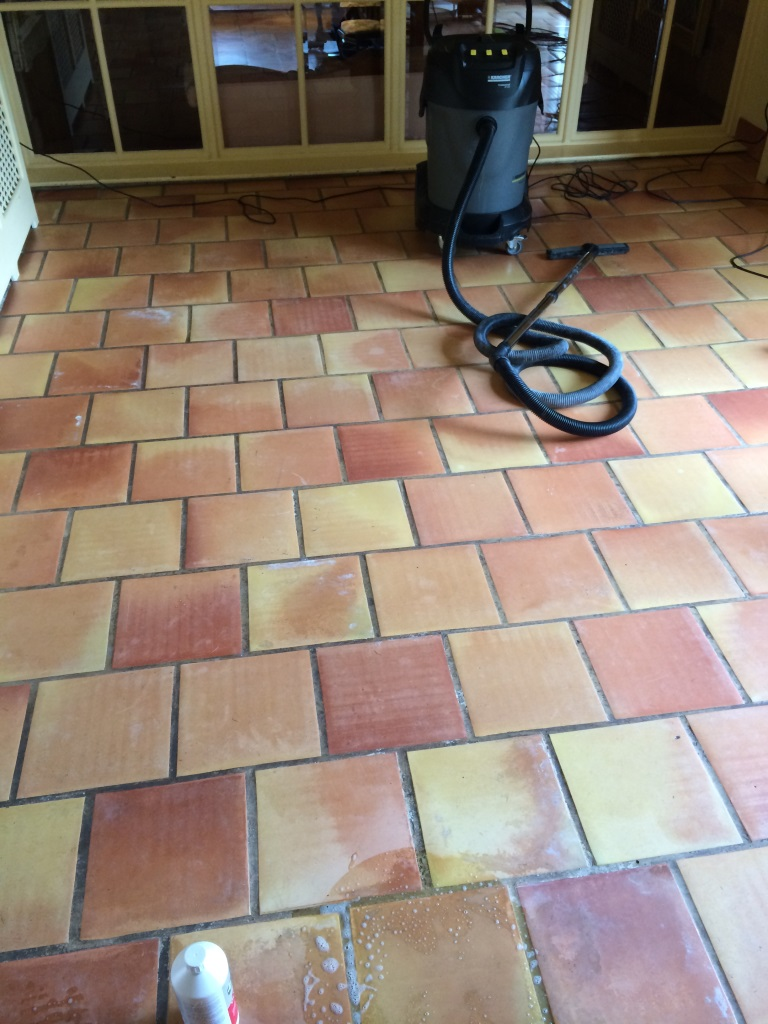 Terracotta Tiles in East Tytherley Before Cleaning