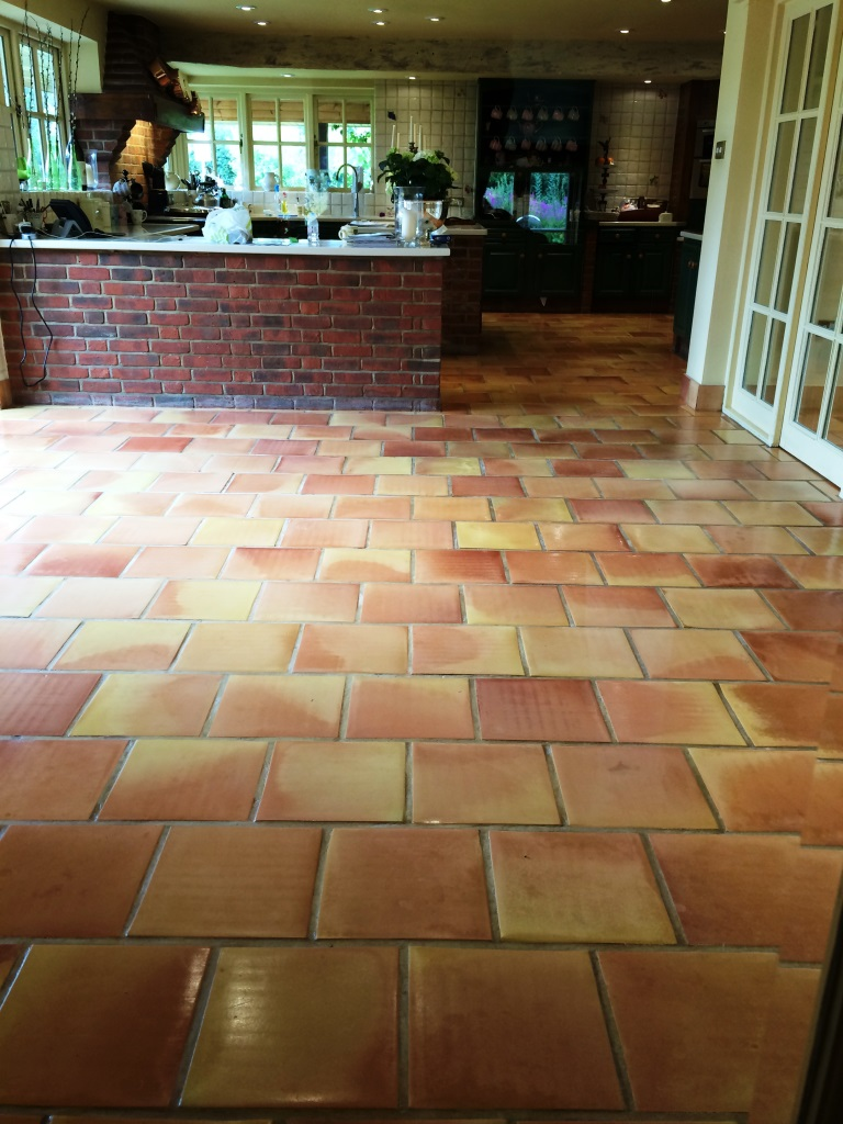 Terracotta Tiles in East Tytherley After Sealing