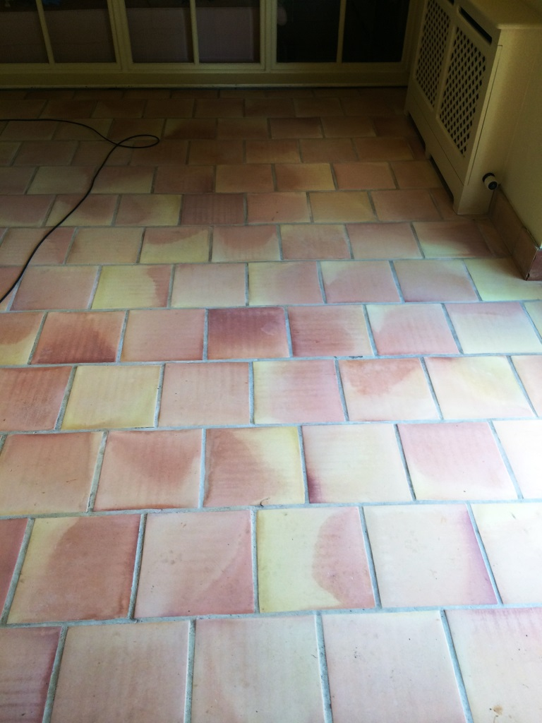 Terracotta Tiles in East Tytherley After Cleaning