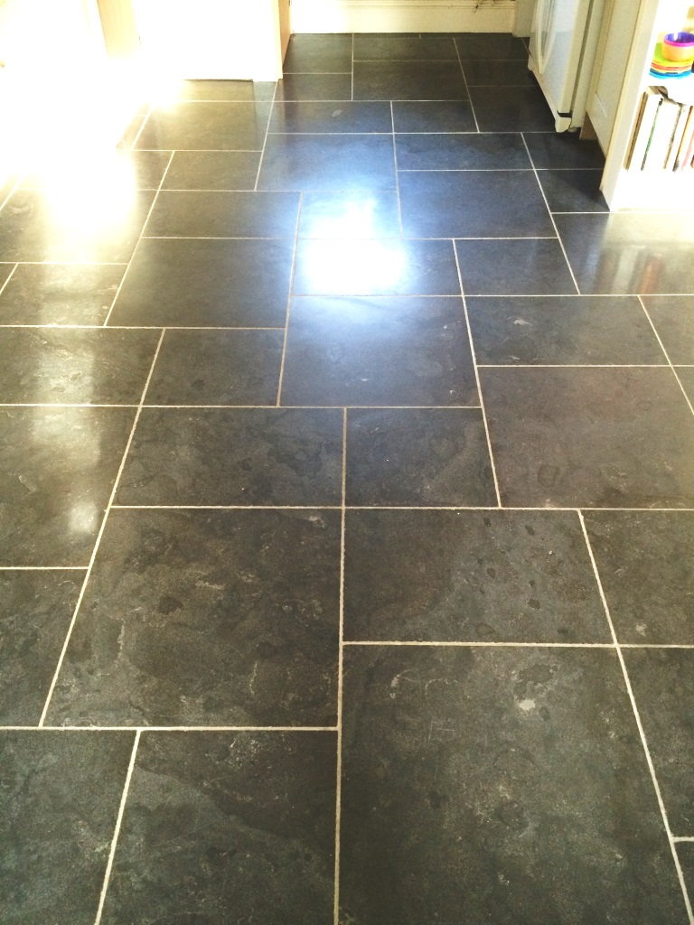 Black Limestone Tiles Fovant After Sealing