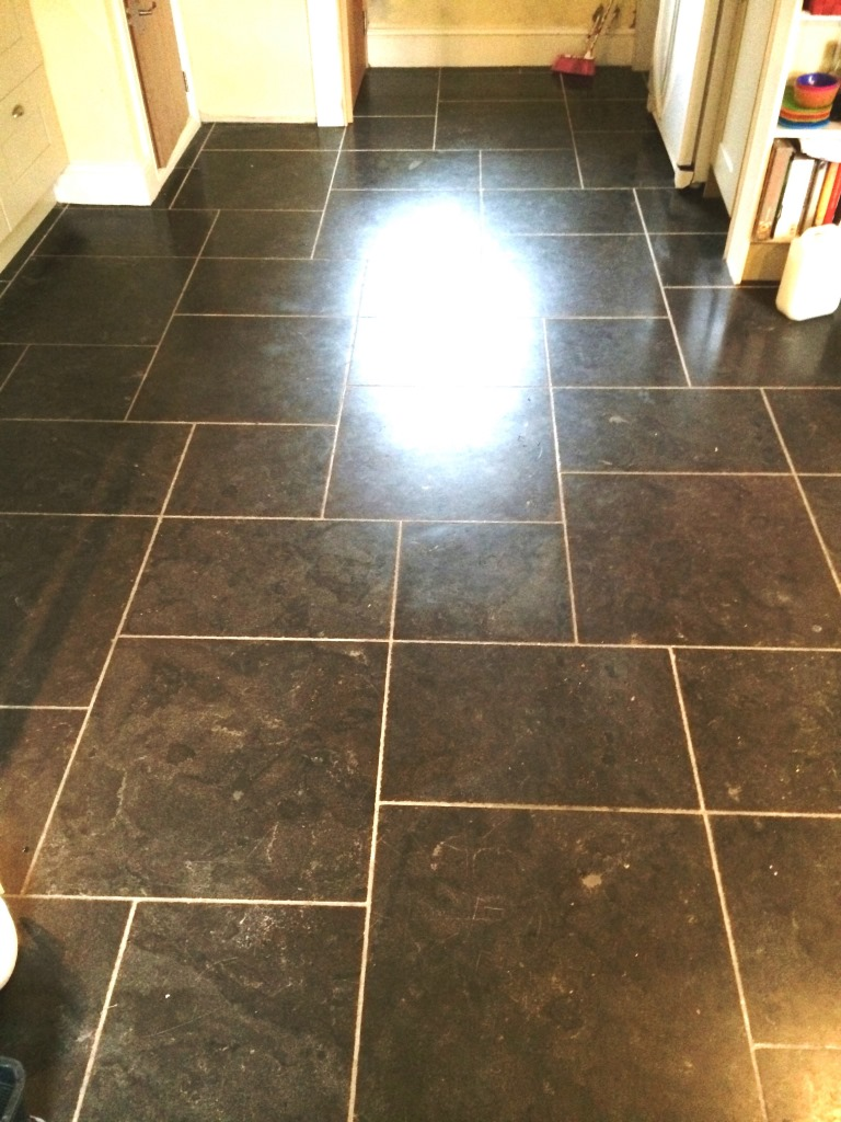 Black Limestone Tiles Fovant Before Cleaning
