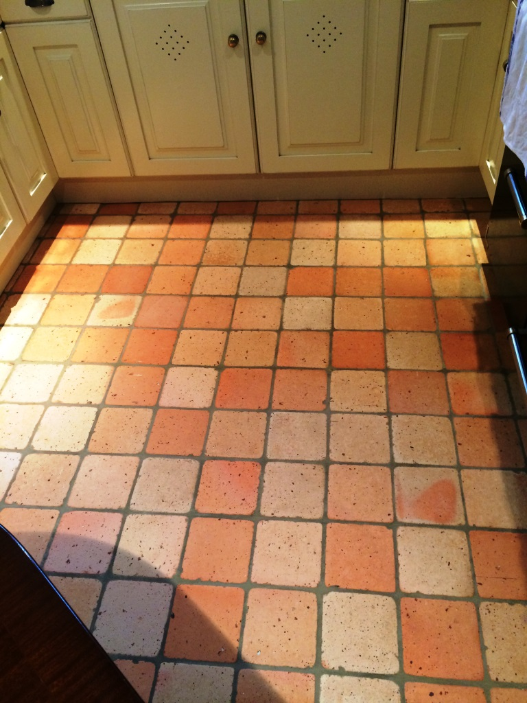 Terracotta Tiled Floor Burbage After Cleaning
