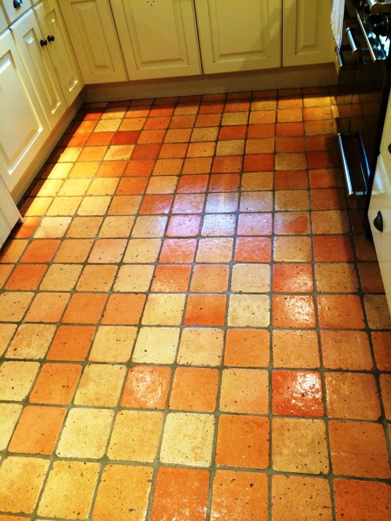 Terracotta Tiled Floor Burbage After Sealing