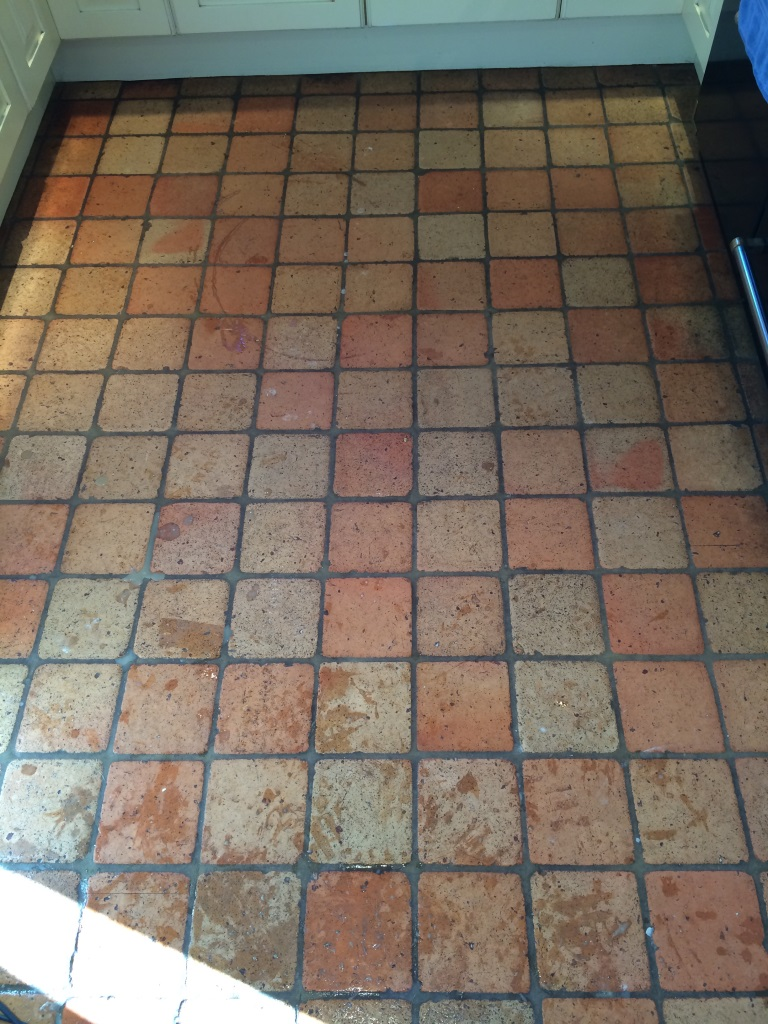 Terracotta Tiled Floor Burbage Before Cleaning