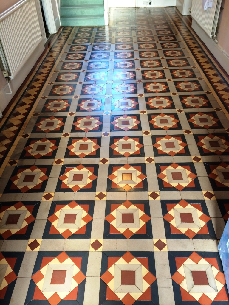 Original Victorian Tiles Melksham After Cleaning and Sealing