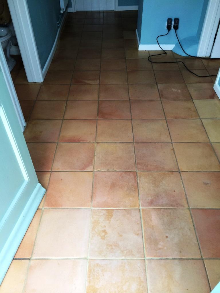 Terracotta Tiled Floor Urchfont Before
