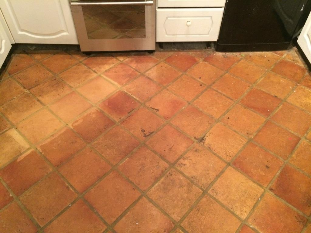 Terracotta Tiled Floor Before Cleaning in Osbourne St. Georges