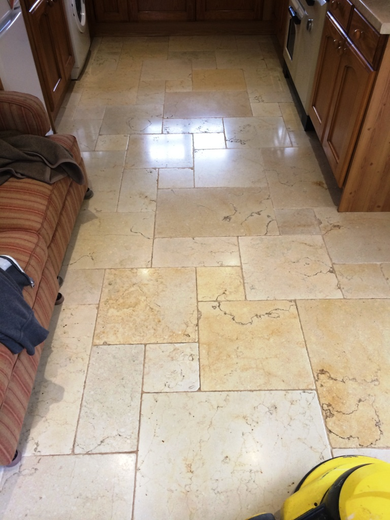 Travertine Floor After Polishing in Lower Woodrow