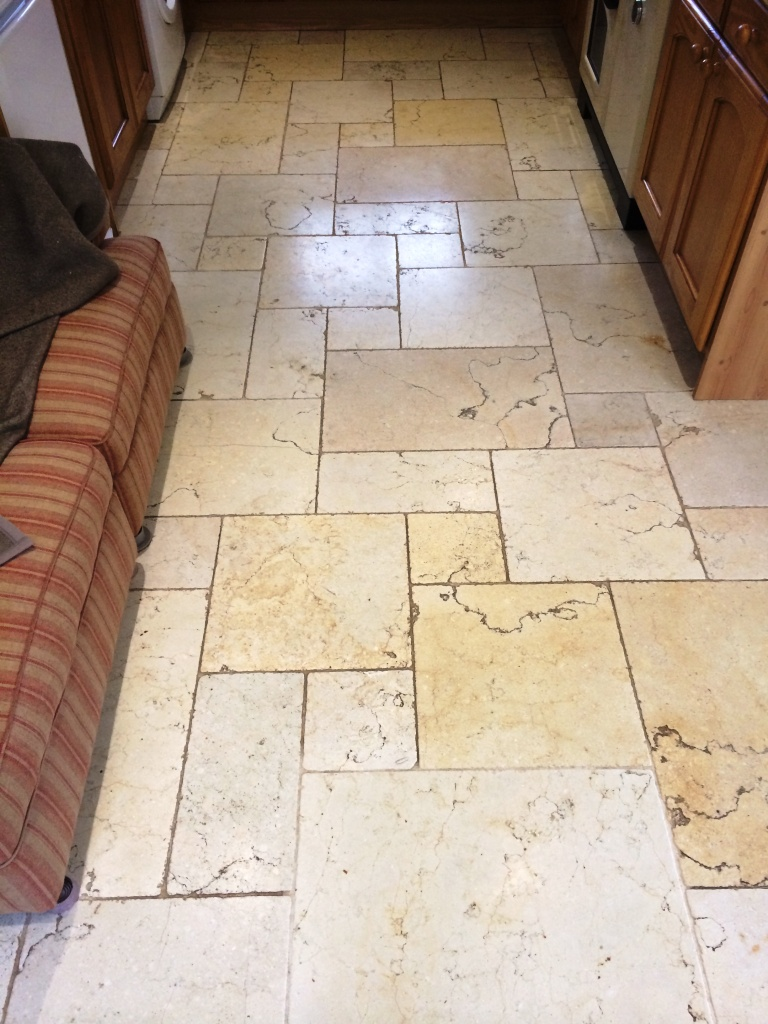 Travertine Floor Before Polishing In Lower Woodrow