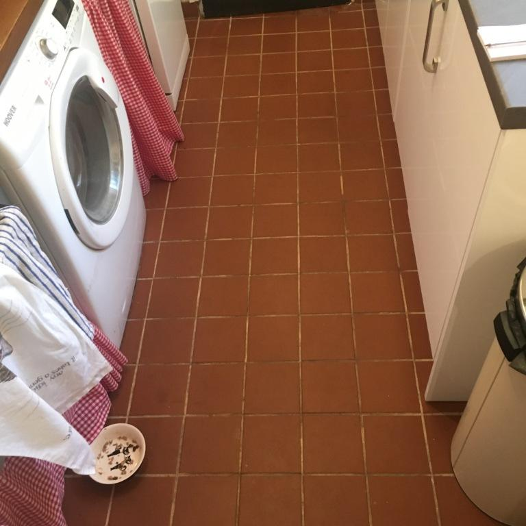 Quarry Tiles Before Cleaning Salisbury