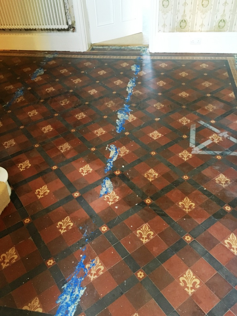 Restoring a victorian tiled hallway hidden under carpet cleaning victorian floor found under carpet before restoration in warminster doublecrazyfo Gallery