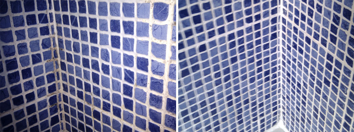 Ceramic Mosaics in shower Before and After