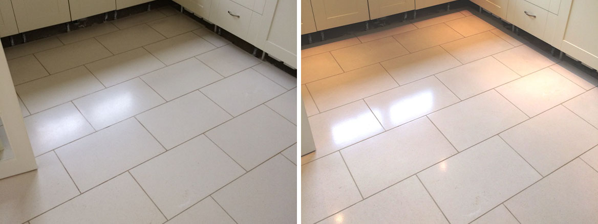 Polishing Limestone Kitchen Tiles in Pewsey