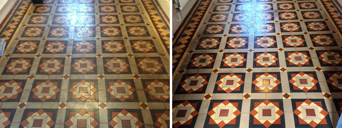 Original Victorian Tiles Melksham Before and After Cleaning and Sealing