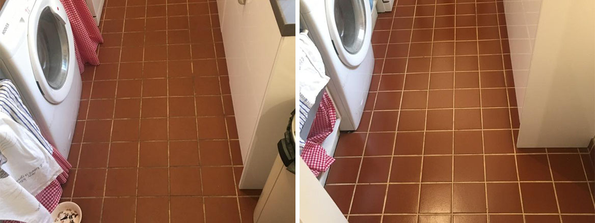 Kitchen Quarry Tiles Floor Treated to a Deep Clean and Seal in Salisbury