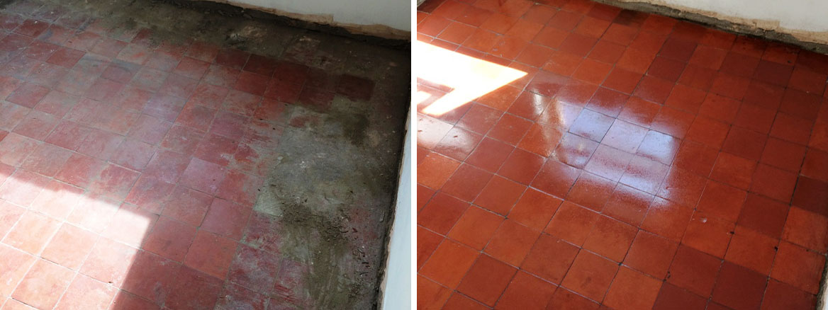 Quarry tiled floor hidden under Ceramic tiles restored in Swindon