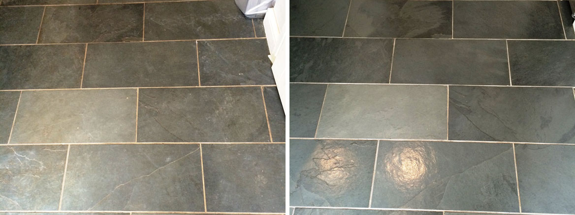Slate Floor Malmesbury Before and After Sealing