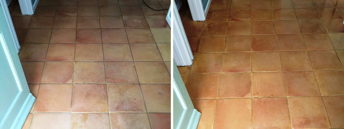 Cleaning Wax and Oil from Terracotta Floor Tiles in Urchfont