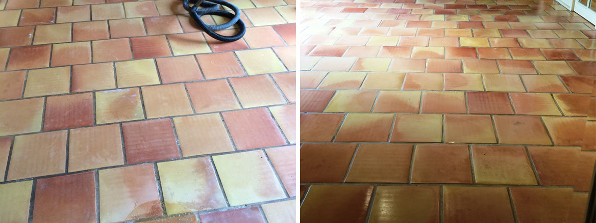 Deep Cleaning Terracotta Kitchen Tiles in East Tytherley