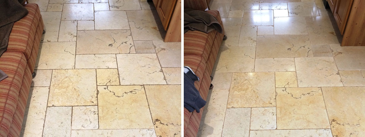 Polished Travertine Floor Restored in Lower Woodrow