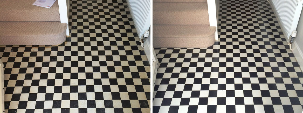 Victorian Tiled Hallway Swindon Before and After Cleaning and sealing
